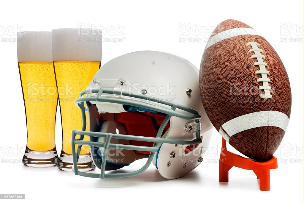 American Football and Beer Isolated on White stock photo