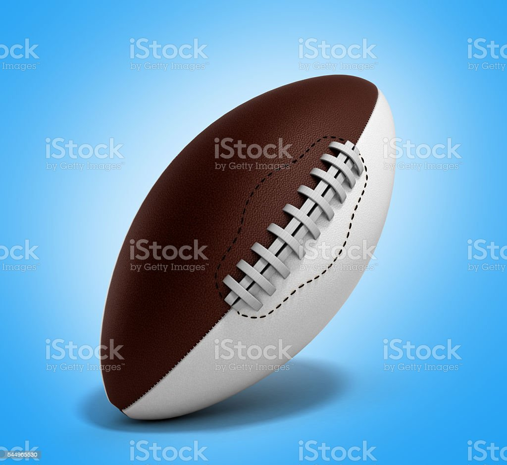 american football ball 3d render isolated on gradient background stock photo