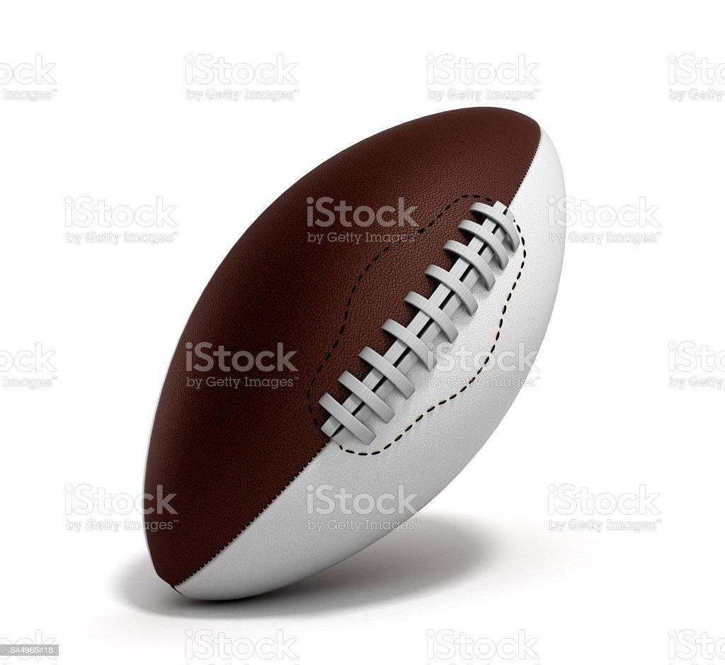 american football ball 3d render isolated on white background stock photo