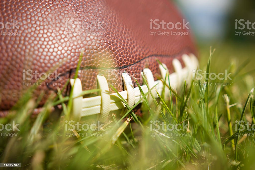 american football ball on grass stock photo