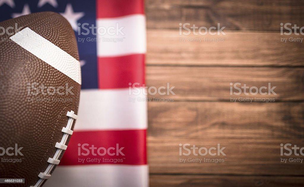 American football ball with us national flag stock photo