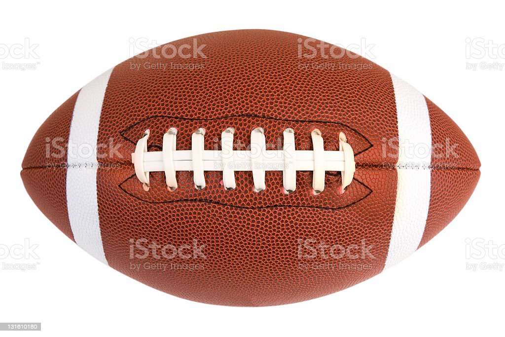 American football displayed on a white background stock photo