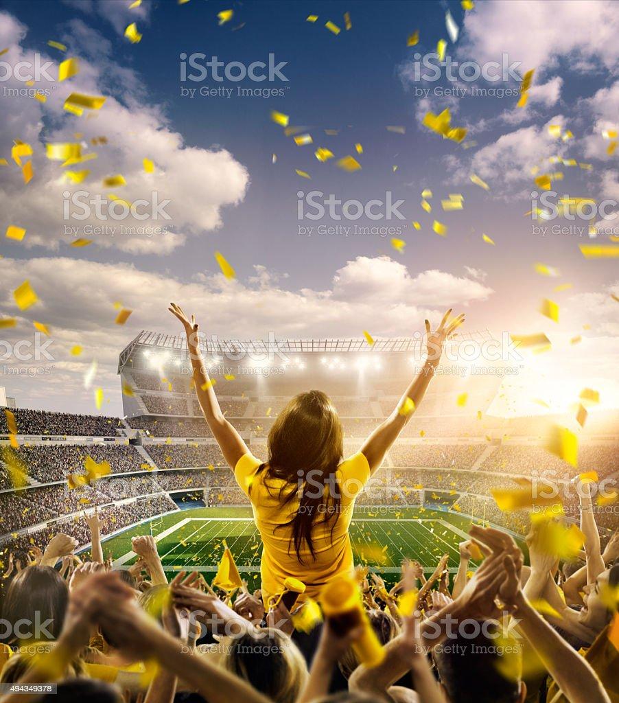 American football fans at stadium stock photo