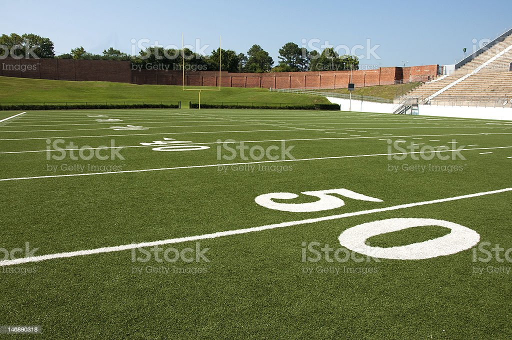 American football field close-up of center line royalty-free stock photo