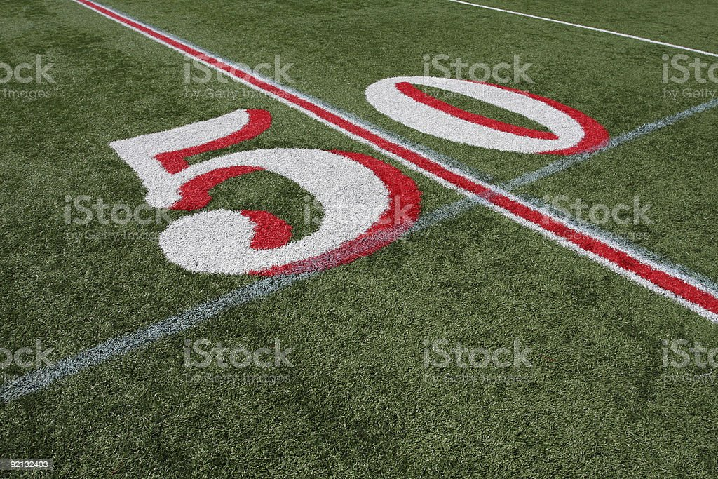 American Football Field Fifty Yard Line royalty-free stock photo