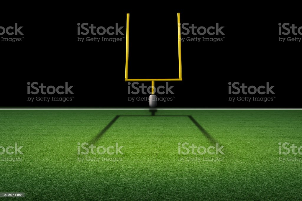 american football field goal post stock photo