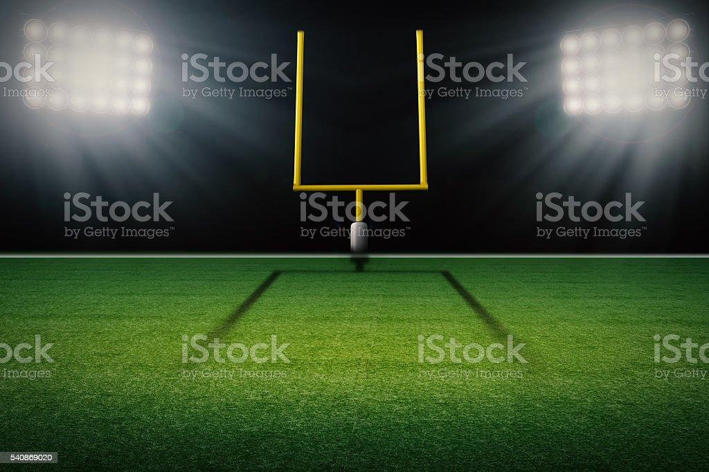 american football field goal post stock photo