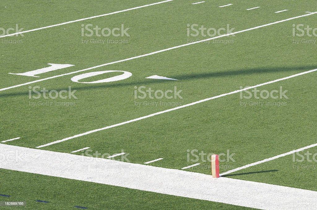 American football field ten yard line stock photo