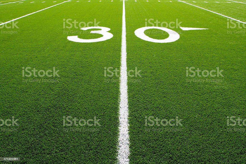 American Football Field Thirty Yard Line royalty-free stock photo