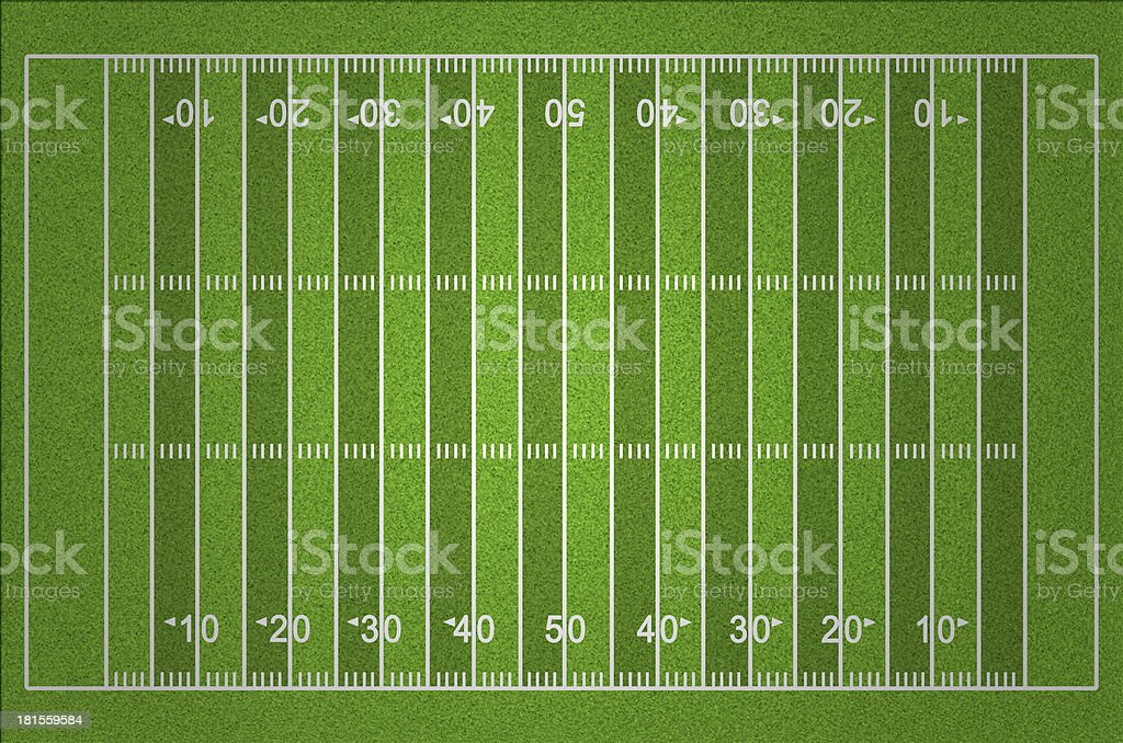 American Football Field with Dark and Light Grass Lines stock photo