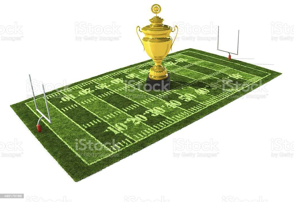 American football field with trophy on center stock photo