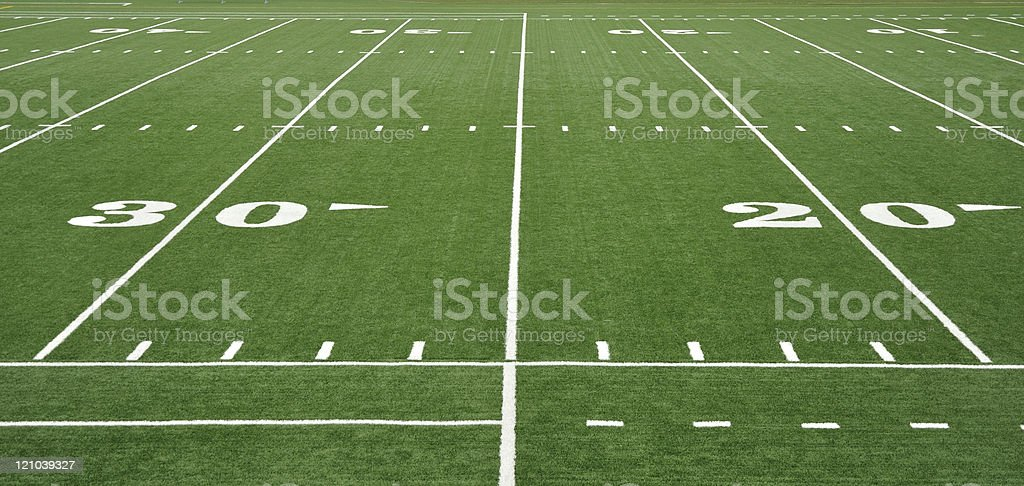 American football field yard and grid lines stock photo
