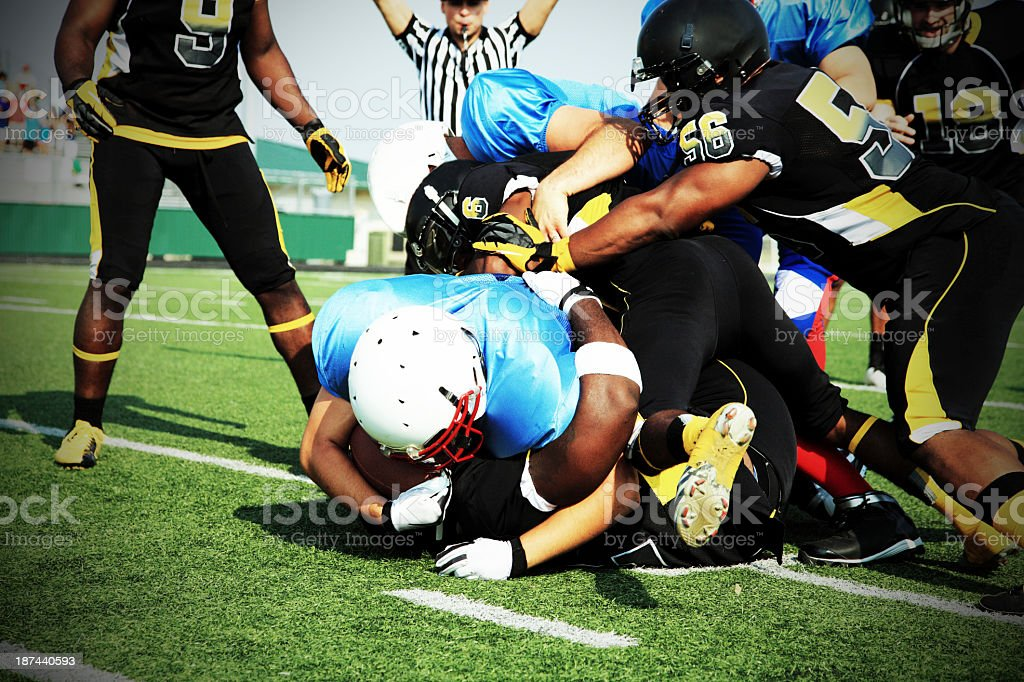 A American football game in action stock photo