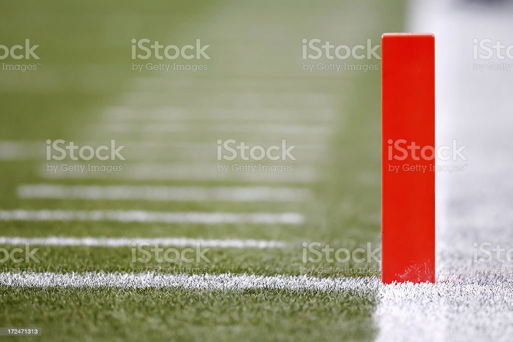 American Football Goal Line Pylon royalty-free stock photo