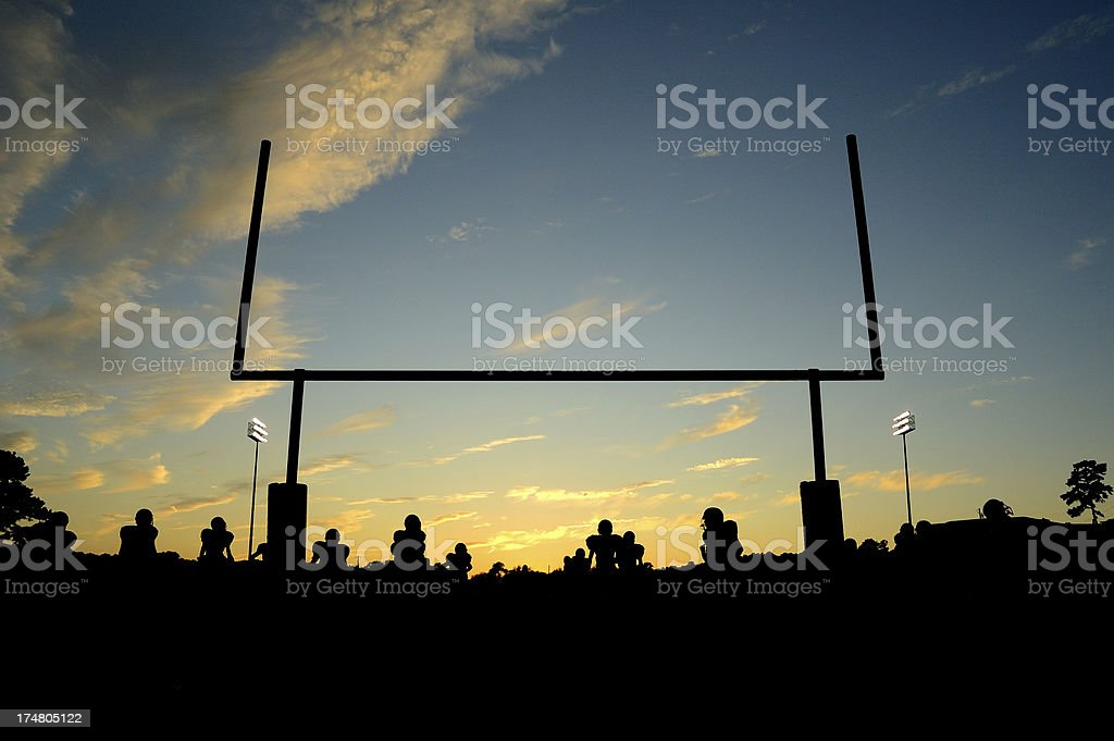 American Football Goal Post and Stadium Lights stock photo