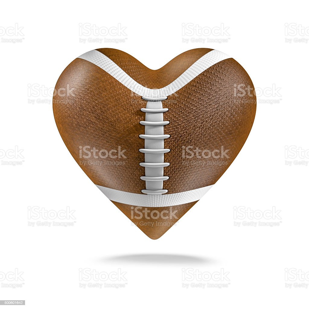 American football heart stock photo