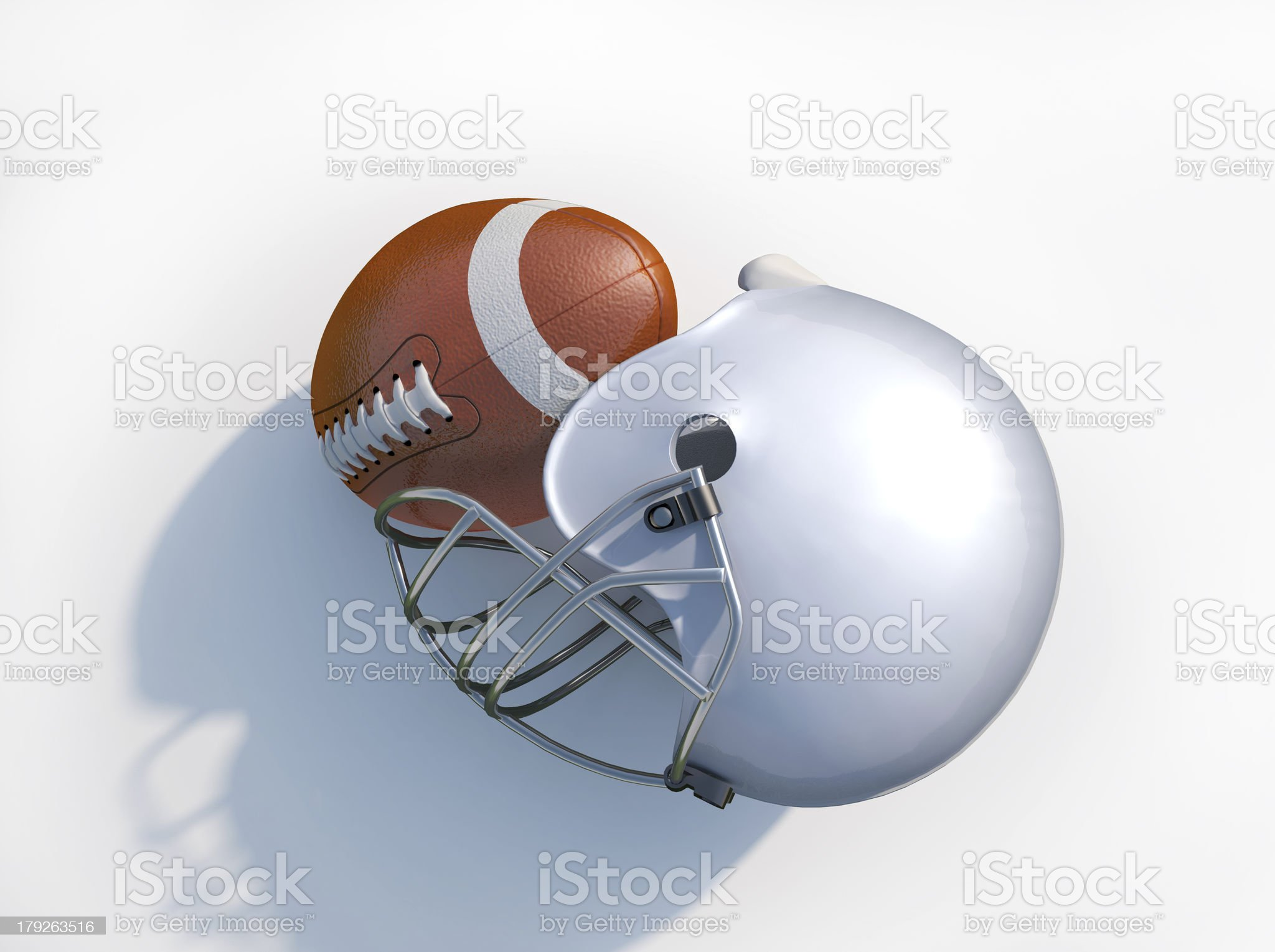 American football helmet with ball isolated. At white background. royalty-free stock photo