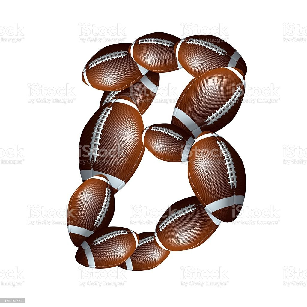 american football icon alphabet capital letter B royalty-free stock photo