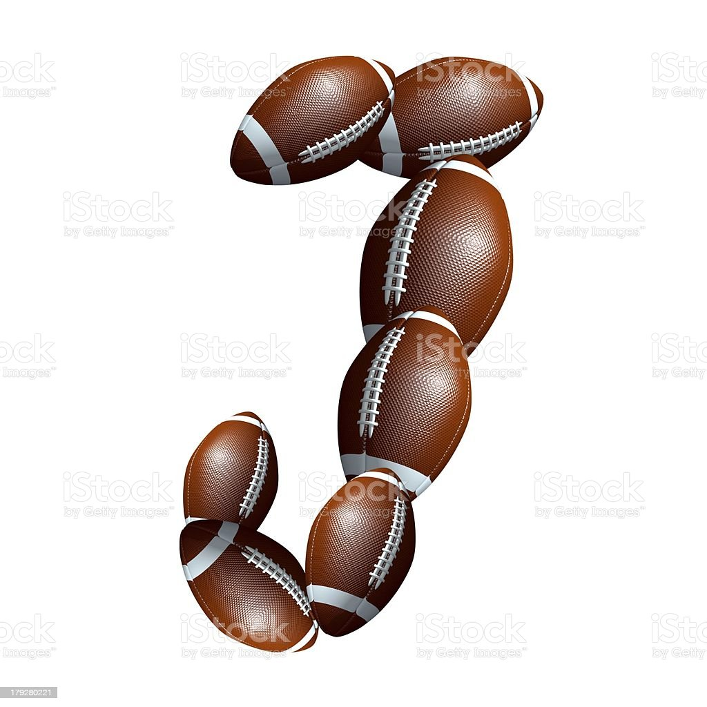 american football icon alphabet capital letter J royalty-free stock photo