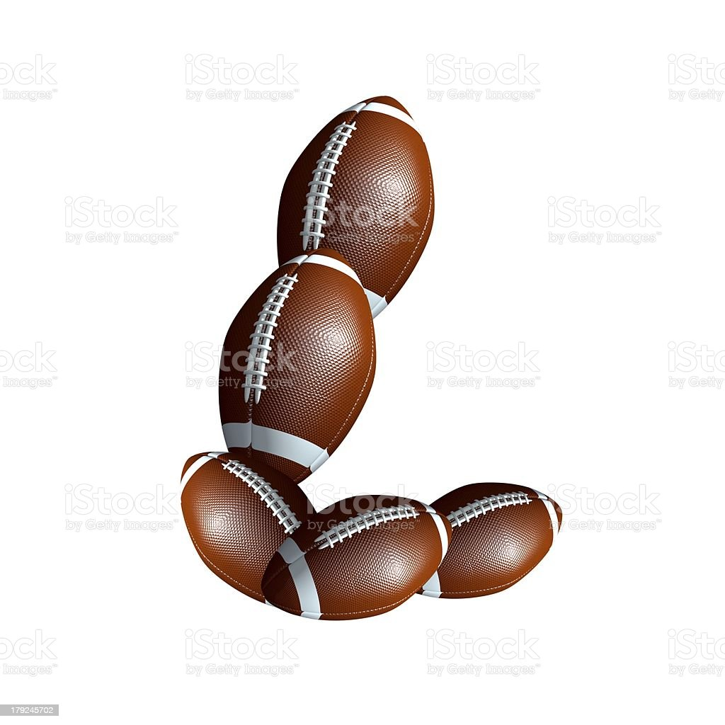 american football icon alphabet capital letter L royalty-free stock photo