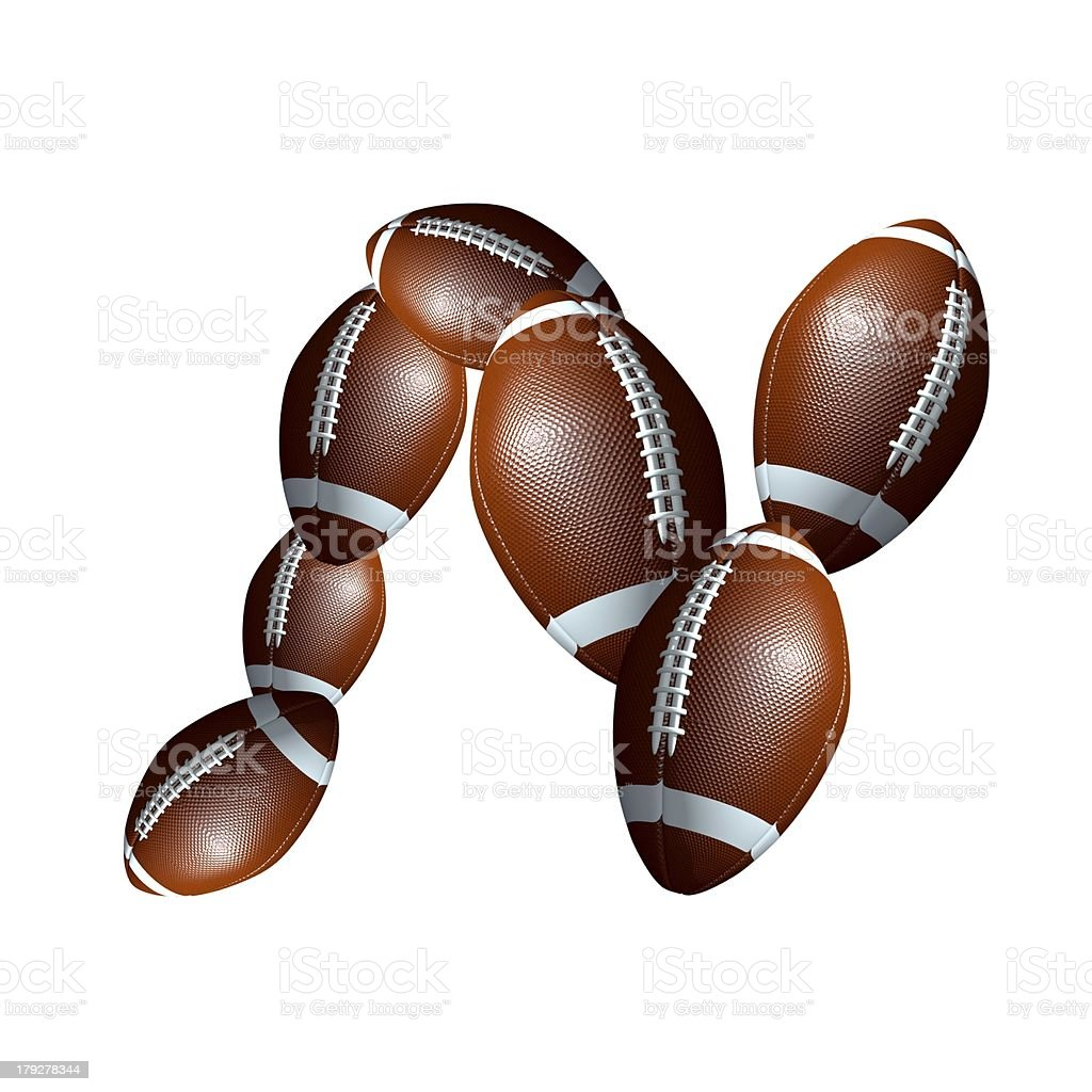 american football icon alphabet capital letter N royalty-free stock photo