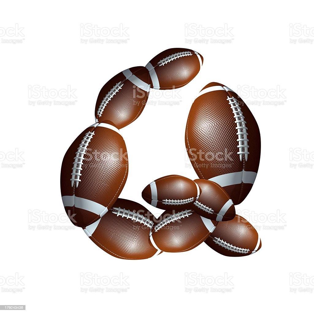 american football icon alphabet capital letter Q royalty-free stock photo