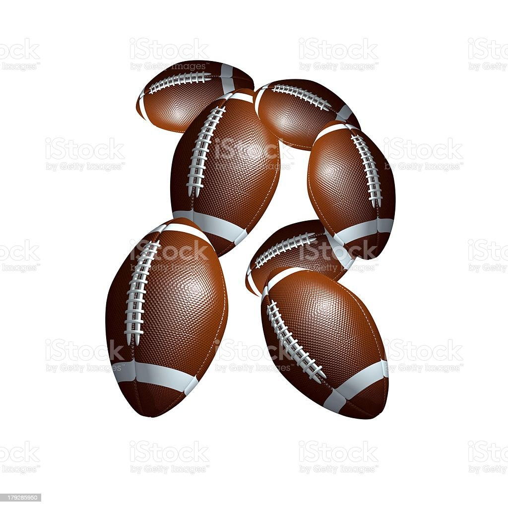 american football icon alphabet capital letter R royalty-free stock photo
