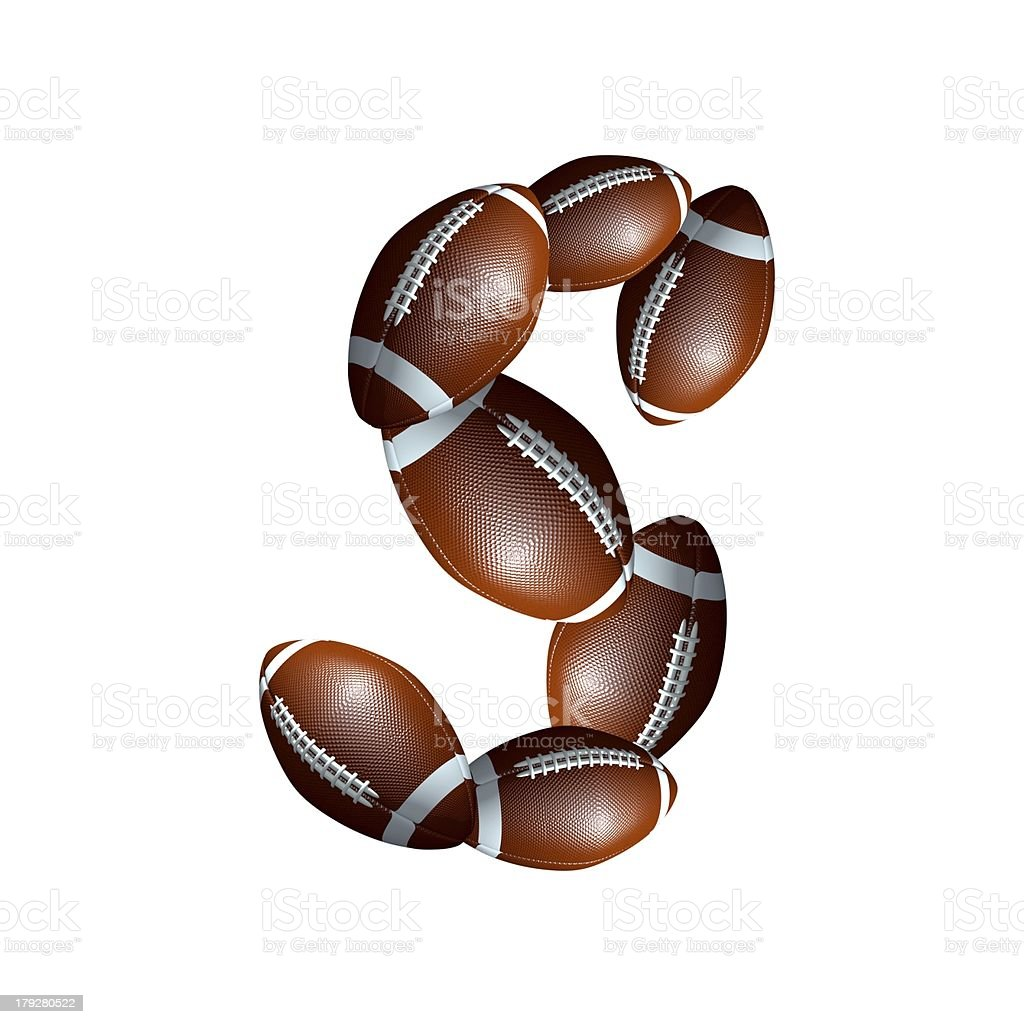 american football icon alphabet capital letter S royalty-free stock photo