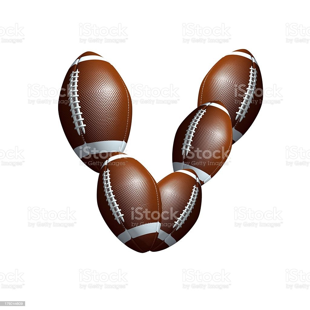 american football icon alphabet capital letter V royalty-free stock photo
