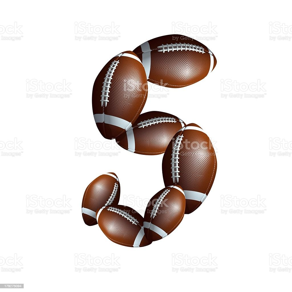 american football icon number 5 royalty-free stock photo