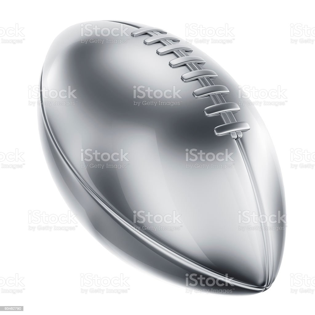 American football in silver stock photo