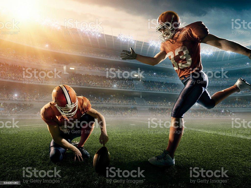 American football kick off stock photo