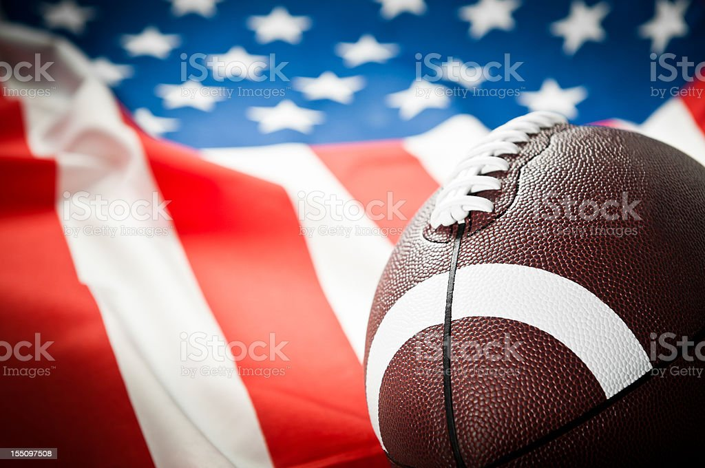American Football League, Super Bowl, rugby ball, American flag stock photo