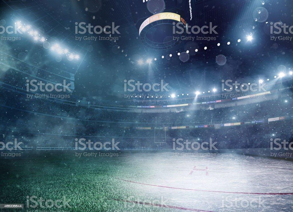 American football meets ice hockey stock photo