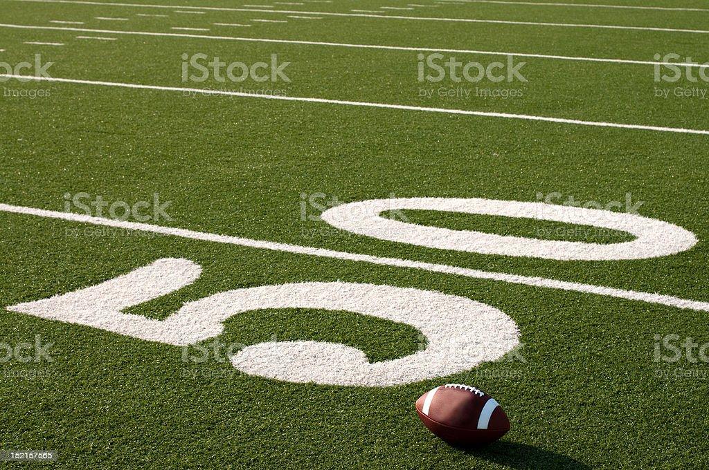 American Football on Field stock photo