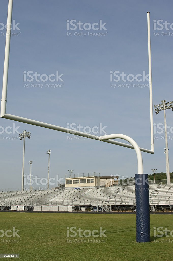 American Football on Football Field at Football Game royalty-free stock photo