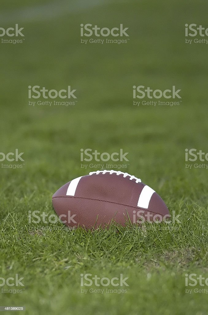 American Football on green grass royalty-free stock photo