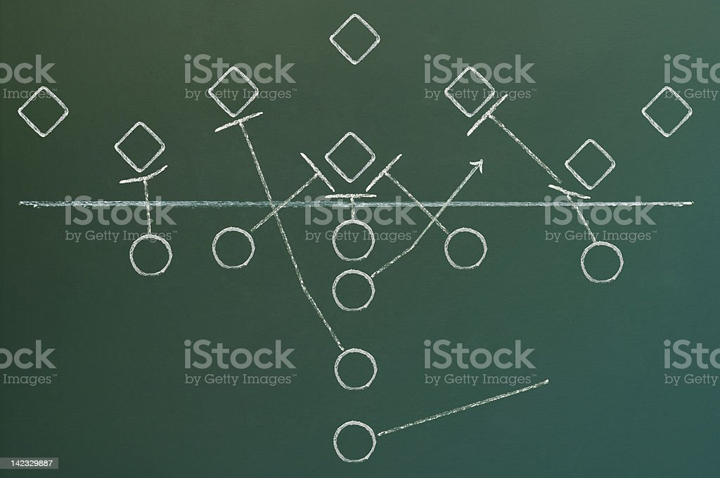 American football play diagram royalty-free stock photo