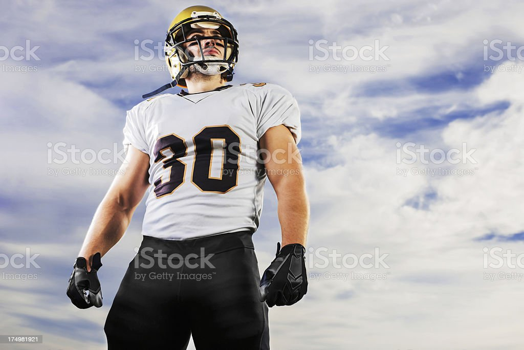 American football player against the sky. royalty-free stock photo