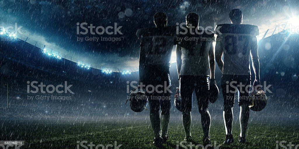 American football player at the end stock photo