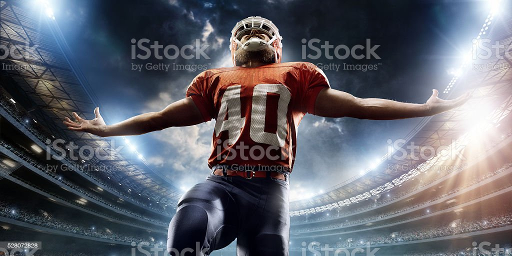 American football player is celebrating stock photo