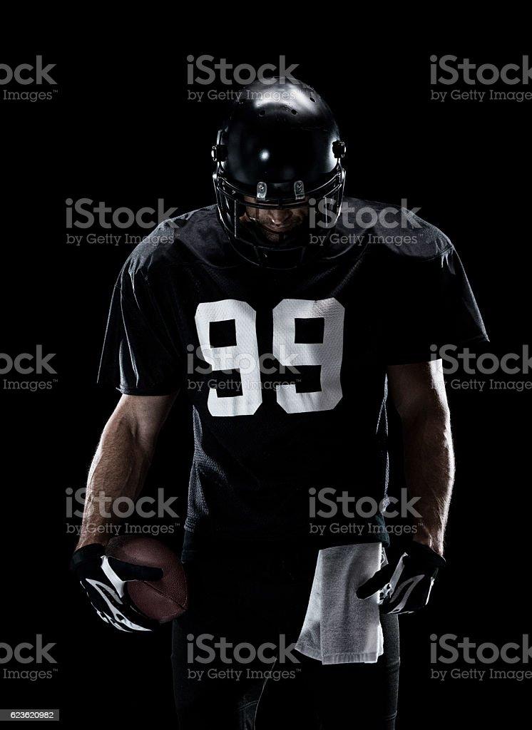 American football player looking upset stock photo