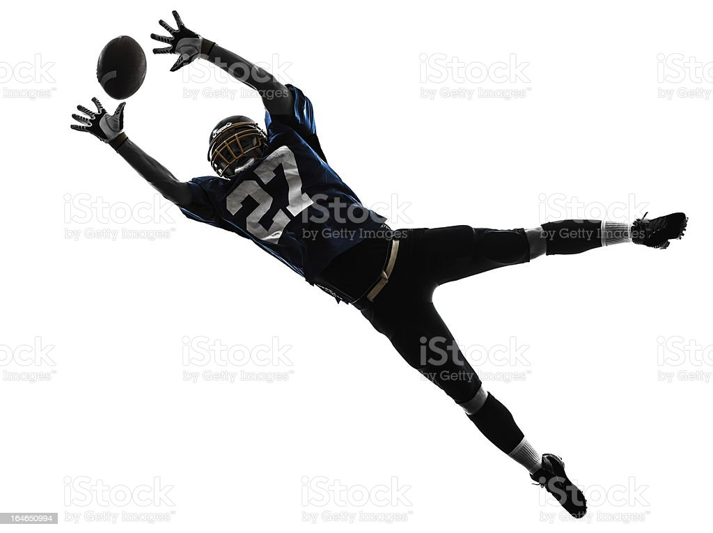 american football player man catching receiving silhouette stock photo