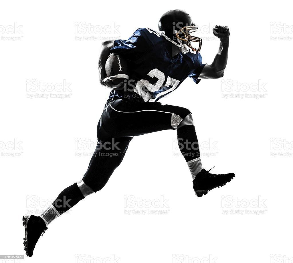 american football player man running  silhouette stock photo