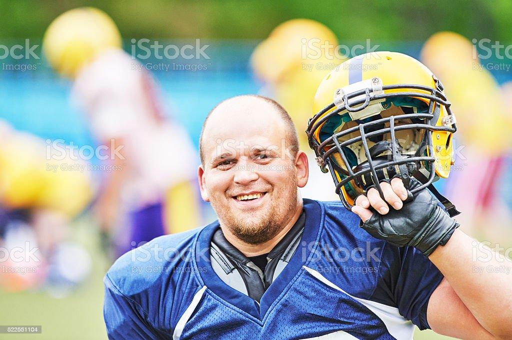 American football player portrait stock photo