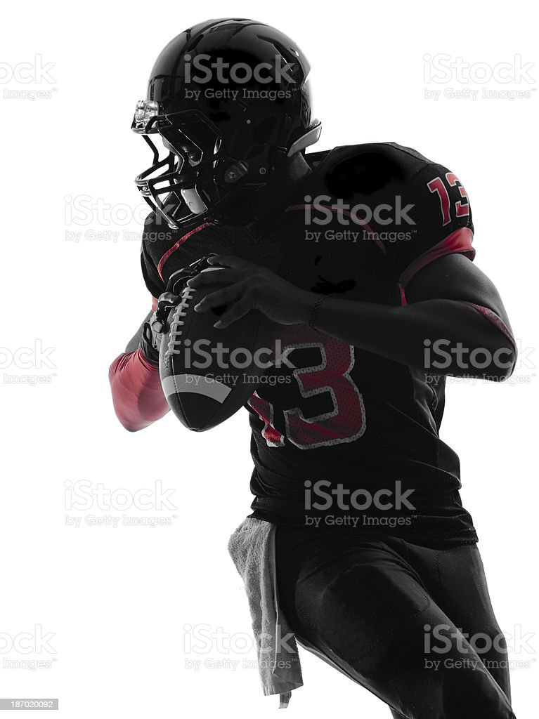 american football player quarterback portrait silhouette stock photo