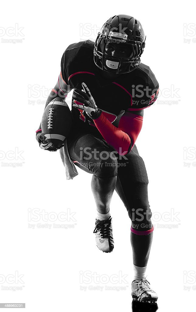 american football player runner running silhouette stock photo