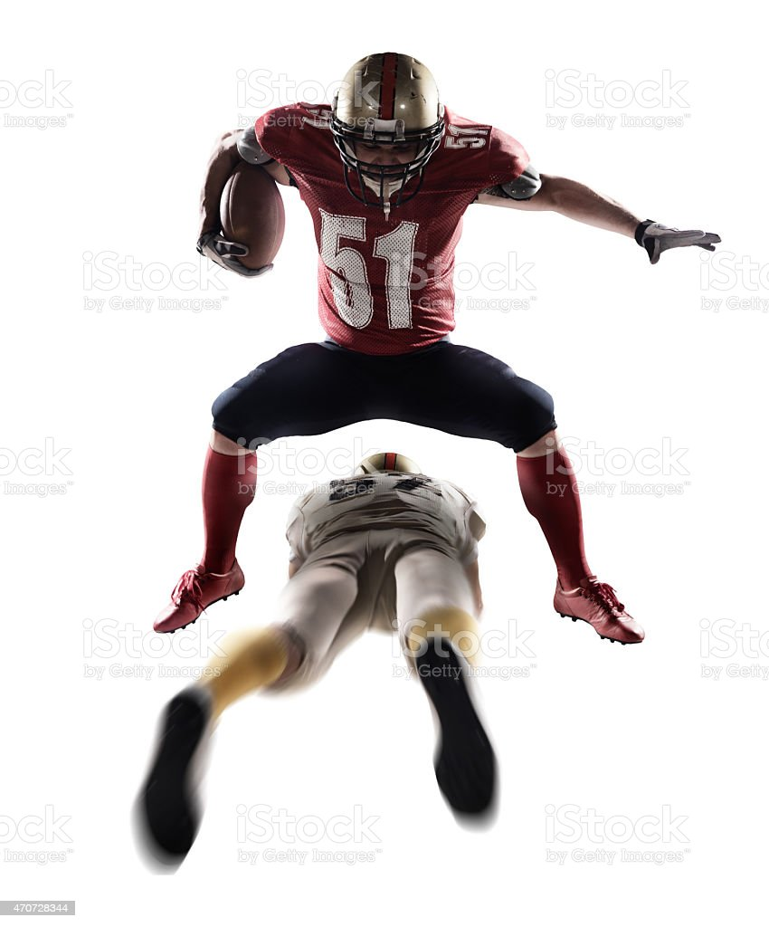 American football players isolated stock photo