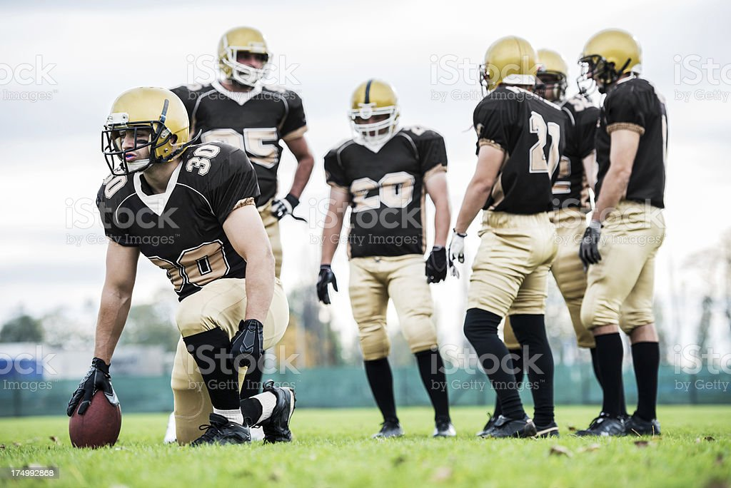 American football players positioning. royalty-free stock photo