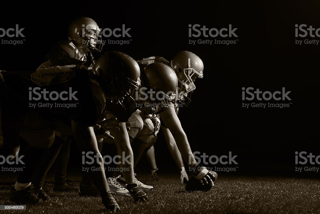American football players positioning. stock photo